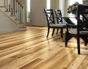 Hardwood floors with a hickory finish