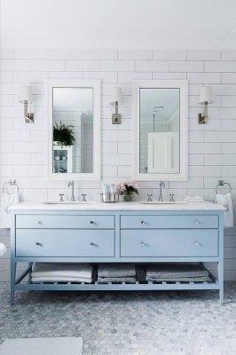 Here is how they look in a bathroom. Love this vanity too!