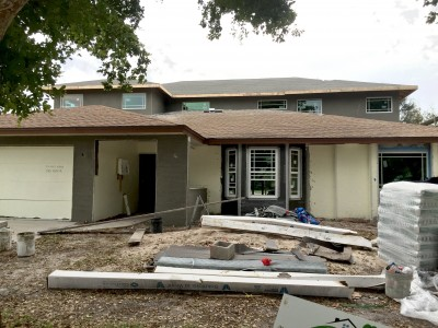 Stucco on house remodel in progress