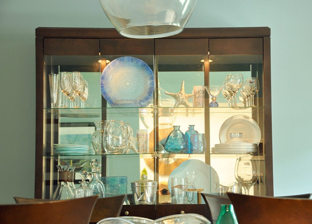 Styled china cabinet in dining room