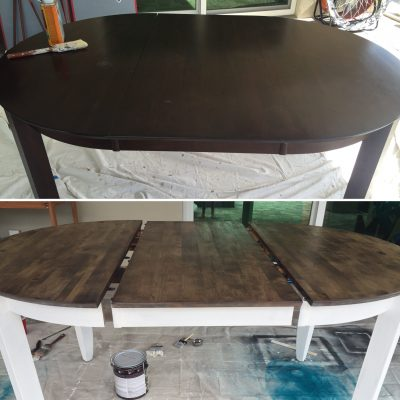 Before and after. Refinishing a dark dining table