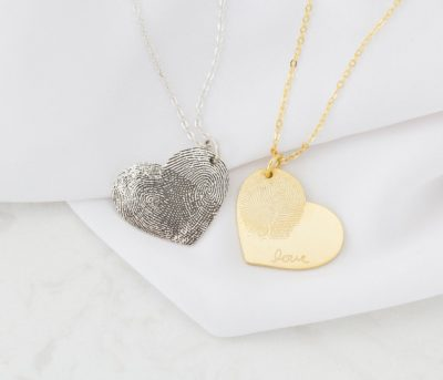 Fingerprint Jewelry Heart Charm