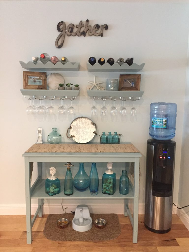 Upcycling old furniture into a bar area