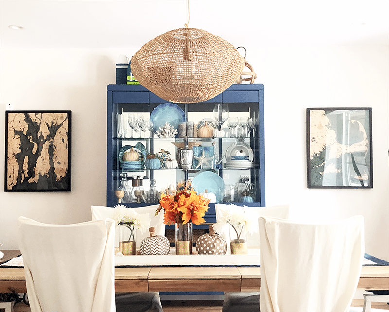 Dining Room Hutch Decorated for Fall